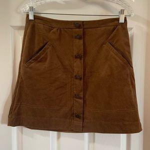 Jolt Brown Suede Button Down Mini Skirt 5